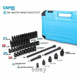 Capri Tools 3/8 in. Drive Master Impact Socket Set, Metric and SAE, 48-Piece
