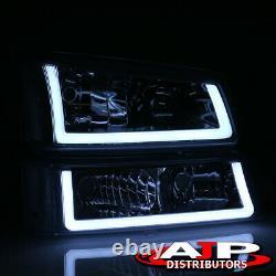 Chrom Clear Corner LED DRL Bumper Head Lights Lamp LH+RH For 2003-2007 Silverado