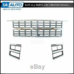 Chrome Grille & Headlight Lamp Bezel Kit 3 Piece for 89-91 Chevy Truck SUV New