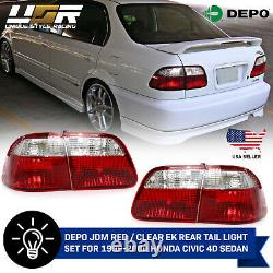 DEPO JDM Red / Clear EK Rear Tail Light Set For 1999-2000 Honda Civic 4D Sedan