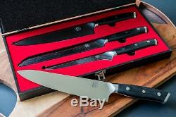Damascas Steel Chef's 3 Piece Knife Set By FollCorp Personal and Gift Ready