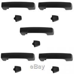 Door Handle Black Exterior Outside Front & Rear Set of 5 for 06-10 Hummer H3 H3T