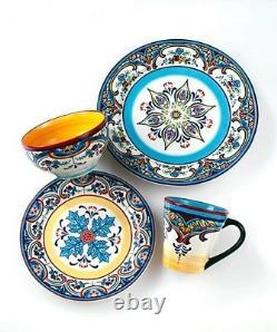 Euro Ceramica Zanzibar 16 Piece Earthenware Dinnerware Set OF 4 WITH WARRANTY