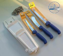 F Dick Pro Butcher 3 Piece Knife Set, Mars Pouch & Stainless Chain