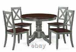 Farmhouse Dining Table Set Rustic Round Dining Room 5 Piece Kitchen Chairs Green