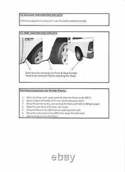 Fender Flares Fits 2000-2006 GMC Yukon 6 Piece set Matte Black Smooth Paintable