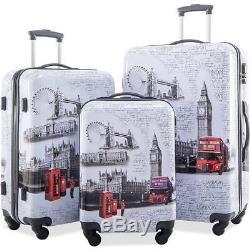 Flieks 3 Piece Luggage Set ABS + PC Spinner Travel Suitcase Set