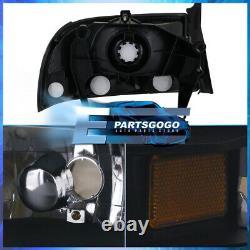 For 97-04 Dakota / Durango 1PC Black Housing Headlights with Built In Bumper Lamps