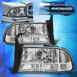 For 97-04 Dodge Dakota Durango 1PC Headlights Chrome Housing Clear Bumper Lamps