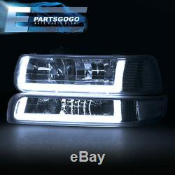 For 99-02 Silverado Tahoe LED DRL Chrome Housing Smoked Lens Headlights Assembly