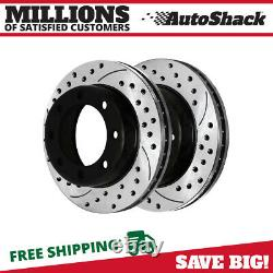 Front Drilled Slotted Brake Rotor Pair for 2005-2012 Ford F-350 F-250 Super Duty