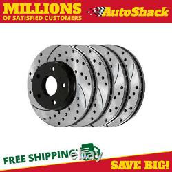 Front Rear Drilled Slotted Brake Rotors for 1994-2002 2003 2004 Ford Mustang