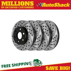 Front Rear Drilled Slotted Brake Rotors for 2001-2006 GMC Sierra Silverado 1500