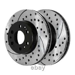 Front Rear Drilled Slotted Brake Rotors for 2007-2013 Chevrolet Silverado 1500
