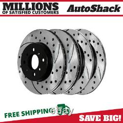 Front & Rear Drilled Slotted Disc Brake Rotors Set of 4 for Acura Integra 1.8L