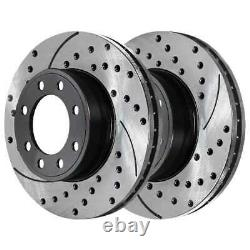 Front Rear Drilled Slotted Rotors Ceramic Pads for 2001-2010 Silverado 2500 HD