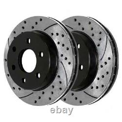 Front Rear Drilled Slotted Rotors Ceramic Pads for 2003-2005 2006 Silverado 1500