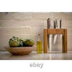 Global Ikasu 7 Piece Kitchen Knife Bamboo Block Set Knives 7pc Made In Japan