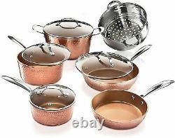 Gotham Steel Hammered Copper 15 Piece Nonstick Cookware Set As Seen on TV