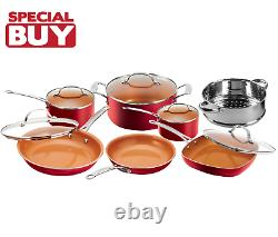Gotham Steel Nonstick 12 Piece Red Cookware Set BRAND NEW