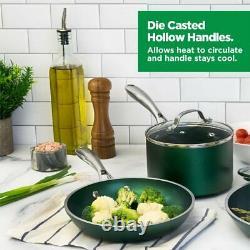 Granitestone Emerald 10 Piece Nonstick Durable Cookware Set with Glass Lids