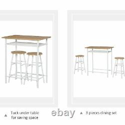 HOMCOM 3-Piece Dining Set with 2 Matching Chairs and 1 Table for Home Bar