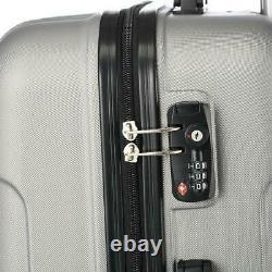 Hardside 3 Piece Nested Spinner Suitcase Luggage Set With TSA Lock Grey