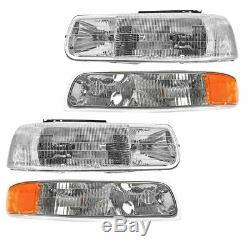 Headlight & Corner Parking Light Left & Right Set Kit for Chevy Truck Suburban