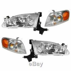 Headlights Headlamps & Corner Parking Lights Kit Set for 98-00 Toyota Corolla