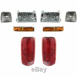 Headlights Parking Corner Lights & Taillights 8 Piece Kit Set for Ford Truck