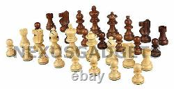 Hena Chess LARGE 15 Inch Game Set Weighted Pieces Inlaid Beech Wood Board, New