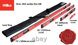 Hilka Spirit Level Kit New 4 Piece Professional Torpedo Box Level Set 63990004