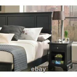 Home Styles Bedford Queen Wood Panel Headboard 2 Piece Bedroom Set in Ebony
