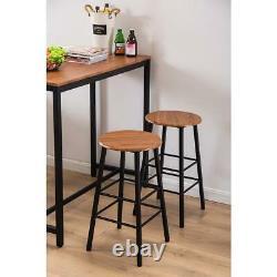 Hot 3 Piece Bar Table Set 2 Stools Bistro Pub Kitchen Dining Furniture Brown US