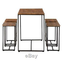 Hot 5 Piece Dining Table Set 4 Chair Wood Home Dining Room Furniture Walnut NEW