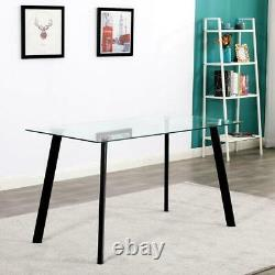 Hot 5 Piece Dining Table Set 4 Chairs Glass Metal Kitchen Room Furniture Black