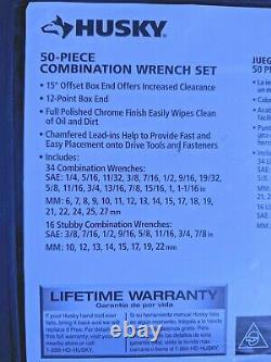 Husky SAE Metirc Combination Wrench Set 50-Piece 6mm 27mm 1/2 to 1-1/16 in