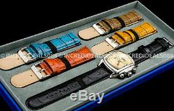 Invicta Mens Dragon Lupah Gold Dial 5 Piece Leather Strap Set Bold Silver Watch