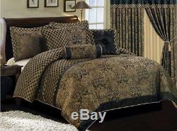 Jacquard Comforter Set King Size Bedding Bed In Bag Clearance 7 Piece Floral New