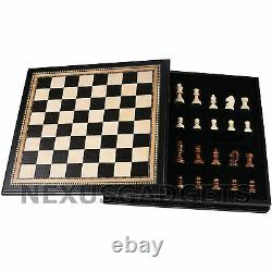 Kanx Chess LARGE 18 Inch Game Set Weighted Pieces BLACK Inlaid Wood Board, New