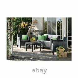 Keter Rattan Garden Furniture Set 4 Piece Chairs Sofa Table Patio Conservatory