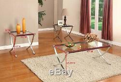 Kings Brand Furniture 3-Piece Glass Coffee Table & 2 End Tables Occasional Set