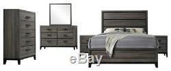 Kings Brand Furniture Ambroise 6-Piece King Size Bedroom Set, Grey / Black