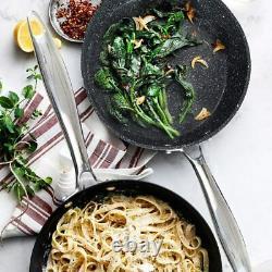 Kitchen Academy 15 Piece Cookware Set Nonstick Granite Coated Pots and Pans Set