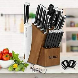 Knife Set, Kitchen Knife Set with Block, AILUKI 19 Pieces Stainless Steel Knife