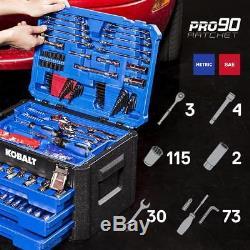 Kobalt 227-Piece Standard (SAE) and (Metric) Polished Chrome Mechanic's Tool Set