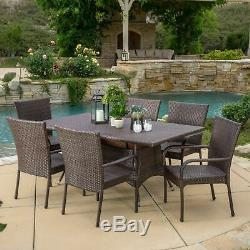 Kory Outdoor 7-Piece Multi-Brown Wicker Dining Set with Umbrella Hole