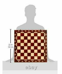 Large Handmade Wooden Chess Set 21 Hand Carved Board Pieces Full Vintage Game