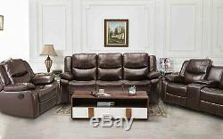Living Room Sectional Sofa Set 3-Piece PU Leather Manual Recliner Chair Loveseat