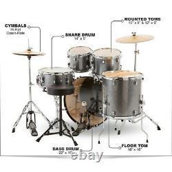 Ludwig Backbeat Complete 5-Piece Drum Set withHardware, Cymbals Metallic Silver